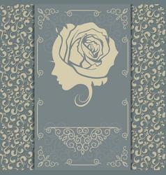 young woman vintage postcard vector image