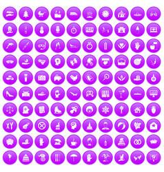 100 joy icons set purple vector image vector image