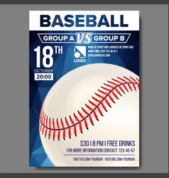 baseball poster sport event announcement vector image vector image