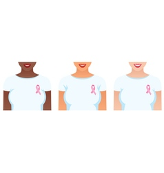 Girls with pink ribbons on their shirts vector image