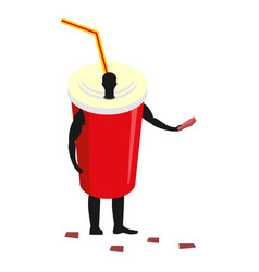paper cup man mascot promoter male in suit drink vector image