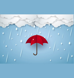 Umbrella with heavy rain rainy season paper art vector