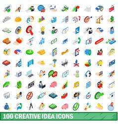 100 creative idea icons set isometric 3d style vector image