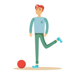 casual man a footballer beating on a ball vector image