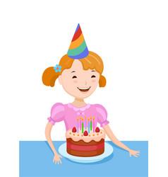 celebrating the birthday cute cartoon girl vector image