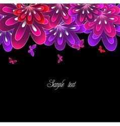 Flower pink on black background vector image vector image
