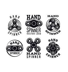 hand spinner logo and labels fidget vector image