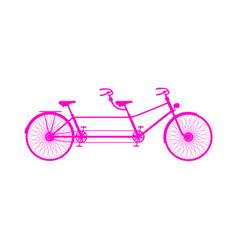 retro tandem bicycle in pink design vector image