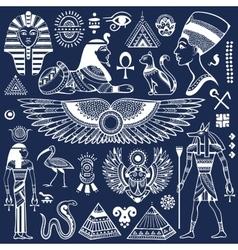 Set of isolated Egypt symbols vector image