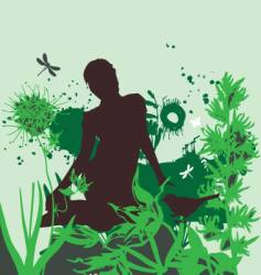 the girl in the garden vector image