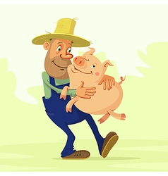 farmer and pig vector image