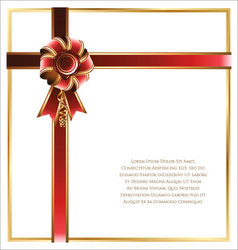 Gift card with red and gold ribbon background vector image vector image