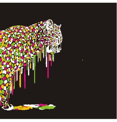 Leopard abstract painting on a black background vector image vector image
