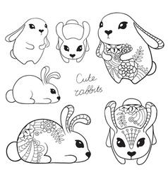 Set of cute rabbits vector image vector image