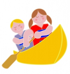 youth in a canoe vector image vector image
