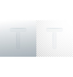 3d paper cut letter t isolated on transparent vector image