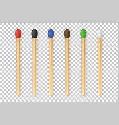 3d realistic colorful match stick icon set vector