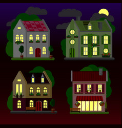 A set of flat of houses at night vector