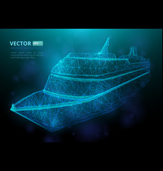 abstract polygonal marine ship or boat vector image