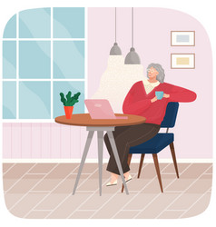 Adult woman sitting on chair at home or restaurant vector