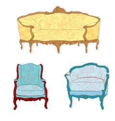 Antique rococo sofa vector