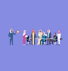 arab businessman boss hold megaphone make vector image