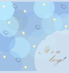 baby boy birth announcement with blue bubbles vector image