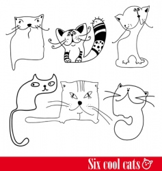 Band of six funky cats vector