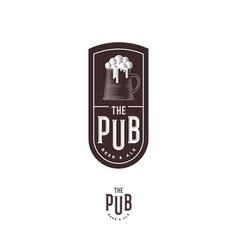 beer pub emblem mug foam letters engraving style vector image