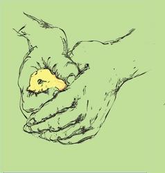 bird in a hand vector image