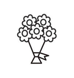 bouquet of flowers line icon sign vector image