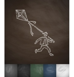 Boy and kite icon hand drawn vector