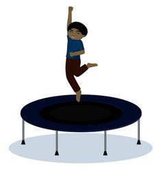 Boy on trampoline vector