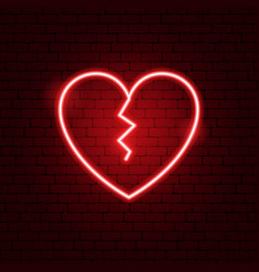 Broken heart neon sign vector