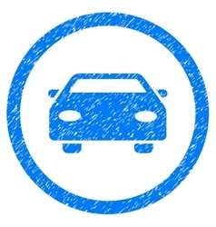 Car Rounded Icon Rubber Stamp vector image