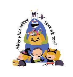 cartoon happy children trick or treating in vector image