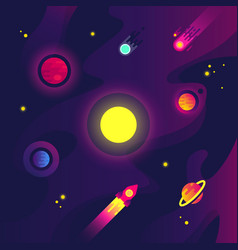 Cartoon space with spacecraft small planets vector