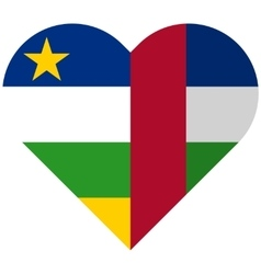 Central African Republic flat heart flag vector