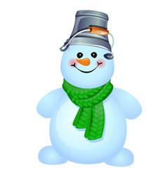 Cheerful snowman with a bucket on his head vector