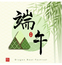 Chinese dragon boat festival with rice dumpling vector