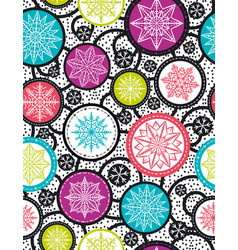 Color seamless pattern background with snowflakes vector