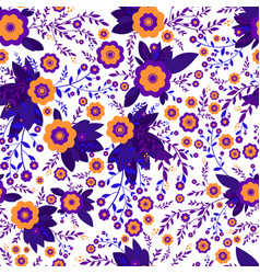 colorful abstract wildflowers orange violet vector image