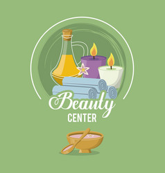 Colorful logo beauty center with set bottle vector