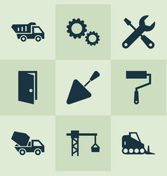 Construction icons set with door tipper trowel vector