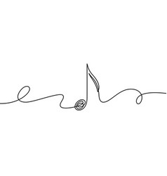 continuous line music note musical symbol in one vector image