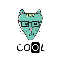 cool cat slogan and face cat - cute cat vector image