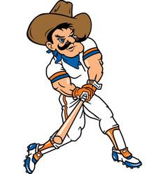 cowboy sports baseball logo mascot vector image