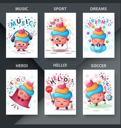 Cute cake - set six items vector