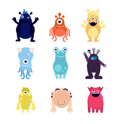 Cute monsters funny monster aliens mascots crazy vector