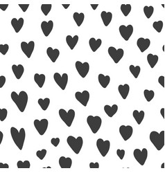 cute pattern with black hand drawn hearts vector image